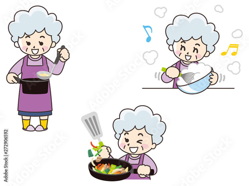 Photo 料理をするシニア女性