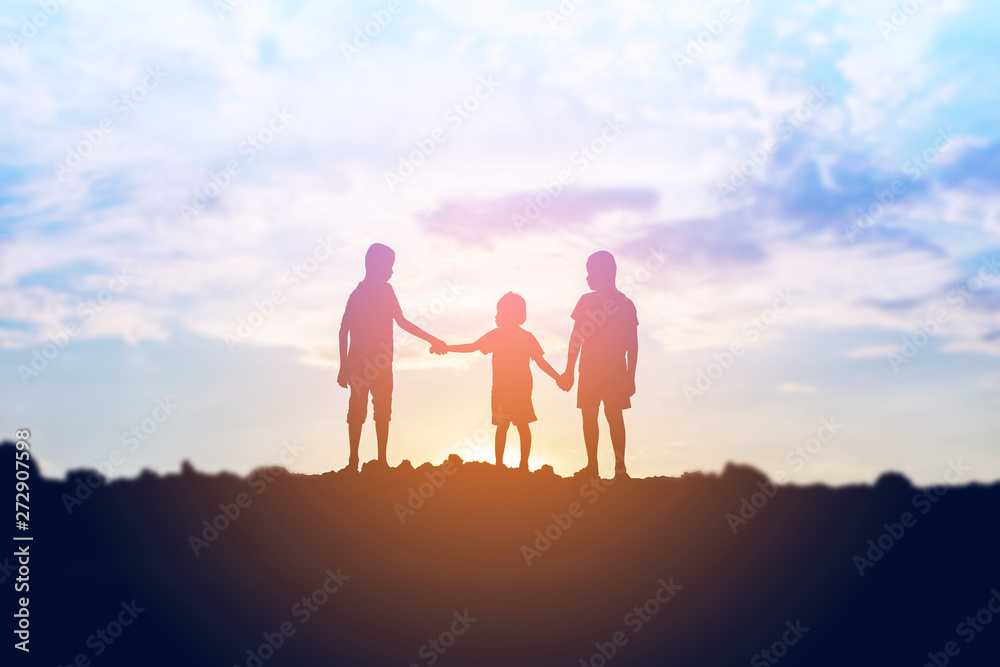 Fototapety, obrazy: silhouette of a happy children and happy time sunset