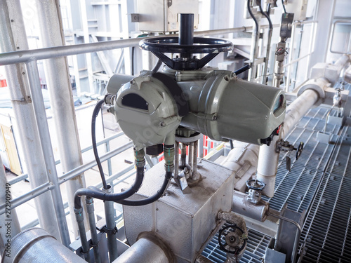 Motor operate valve for On-Off type which apply industrial zone and popular to install with tank, pipe, pump and pond in Combined-Cycle Co-Generation Power Plant Tapéta, Fotótapéta
