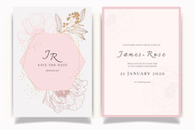 Rose Gold  Wedding Invitation, Floral Invite Thank You, Rsvp Modern Card Design In White Peony With Red Berry And Leaf Greenery  Branches Decorative Vector Elegant Rustic Template
