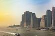 Leinwandbild Motiv Manhattan skyscrapers, New York city skyline view from Brooklyn bridge
