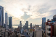 Aerial view of Manhattan skyscrapers, New York city, cloudy spring afternoon