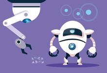 Technology Robot Cartoon Over Purple Background