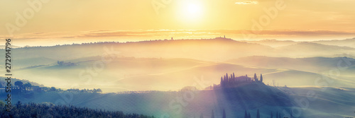 Foto op Canvas Beige Beautiful foggy tuscany landscape at sunrise