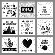 Set of cute black and white cards in nordic style. Hand drawn vector illustration..