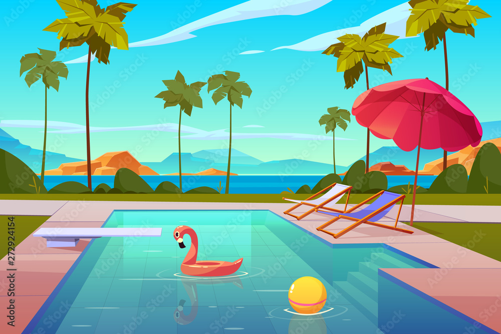 Fototapeta Swimming pool in hotel or resort outdoors, empty poolside with chaise lounges, umbrella, inflatable flamingo and ball in water, exotic beach landscape seaview background. Cartoon vector illustration
