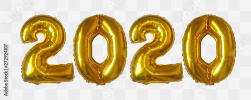 Vector realistic 2020 golden air balloons