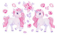 Clipart With Watercolor Hand Draw Unicorn And Flowers