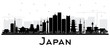 Japan City Skyline Silhouette with Black Buildings Isolated on White.