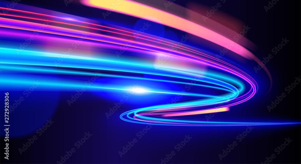 Fototapeta cyberpunk light trails in motion or light slow shutter effect