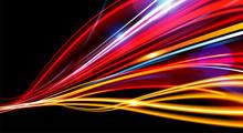 Vector Art Of Dynamic Light Motion, Light Trail, High Speed Effect, Traffic Motion. Light Motion Effect, Slow Shutter Of Traffic.
