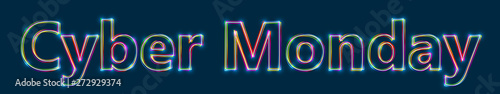 Fotografía Cyber Monday - Colorful multi-layered outline text with glowing light effect on blue background
