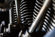 Closeup Shot Of A Well Ridden V-twin American Made  Motorcycle Engine.
