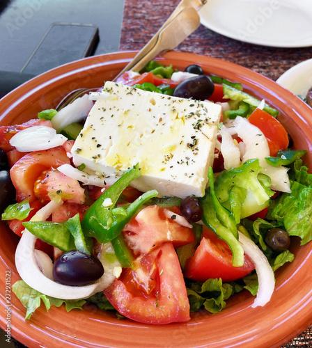 Photo  Portion of traditional greek salad