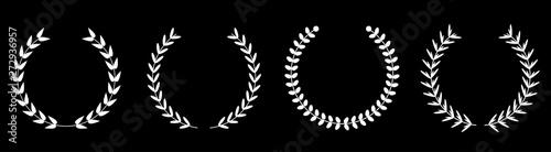 Valokuva Silhouette round laurel foliate wheat wreaths line set