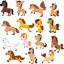 Set Of Cute Cartoon Horse Isol...