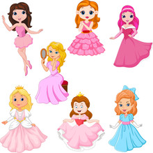 Set Of Cute Cartoon Princesses Isolated On White Background