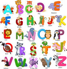 Animals Alphabet Set On White ...