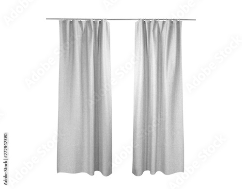 Fotomural White grey curtains Isolated On White background