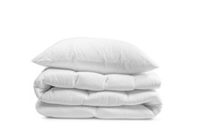 White Pillow On The Duvet Isolated, Folded Beddings On The White Background, Bedding Objects Isolated Against White Background