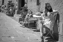 Fashion Italian Woman Outdoor On The Street Of The Old Town