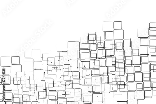 Abstract geometric white and grey tech background Canvas Print