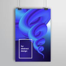 Vector Poster That Hangs On Binders. Blue Vortex.