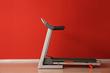 canvas print picture - Modern treadmill near color wall