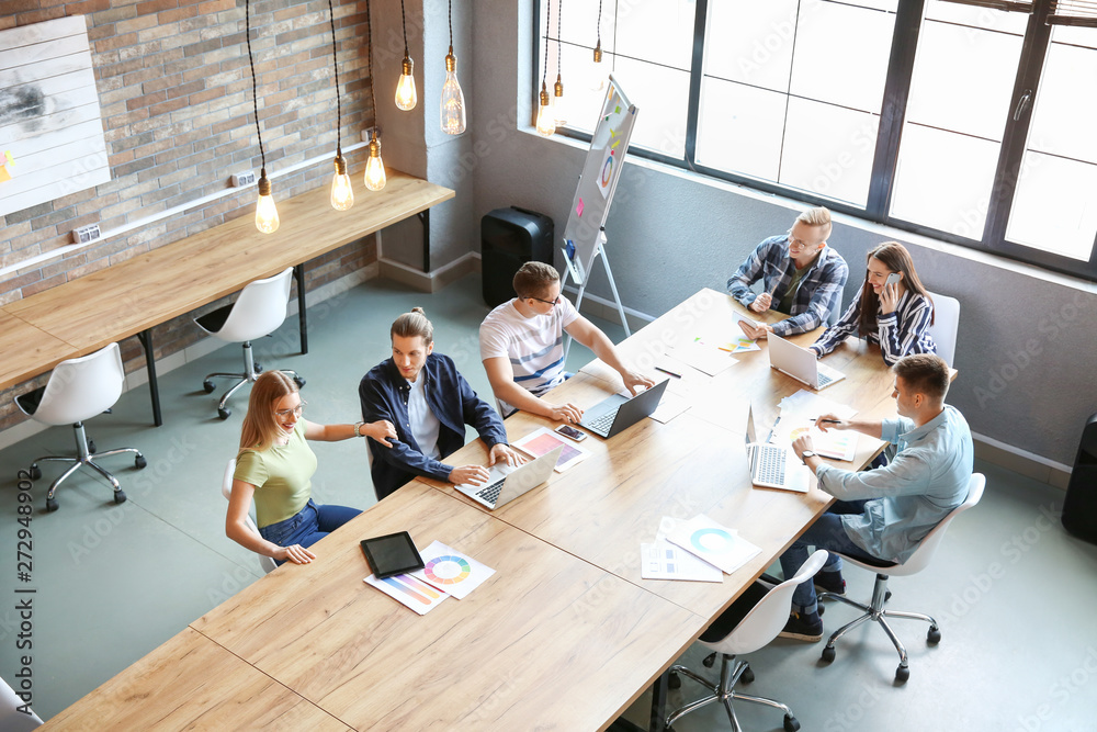 Fototapety, obrazy: Young people having business meeting in modern office