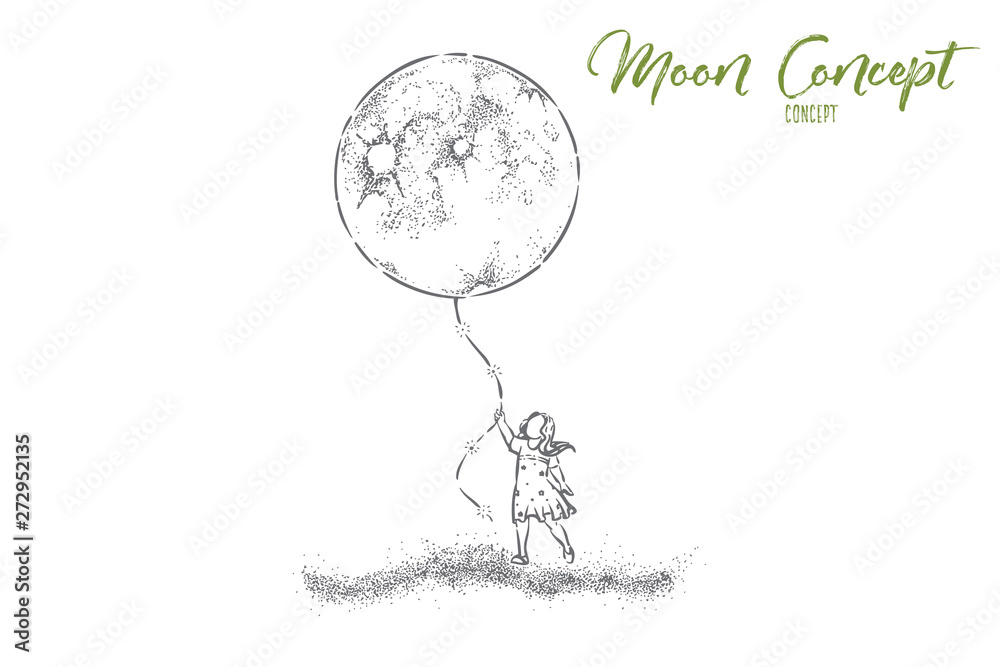 Fototapeta Little girl in dress holding huge moon balloon, faceless preschool child with big present, surreal dream