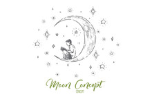 Little Boy Sitting On Crescent, Preschool Child Reading Fantasy Book On Moon, Night Sky With Shiny Stars