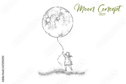 Obraz na płótnie Little girl in dress holding huge moon balloon, faceless preschool child with bi