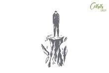 Losing Ground Metaphor, Man Standing Alone On Tiny Ruining Rock