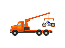 Tow Truck Lifted On A Crane Bi...