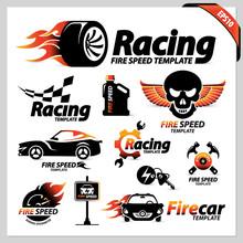 Vector Set Of Car Racing Logot...