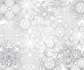 Flower pattern seamless white ornament graphic background.