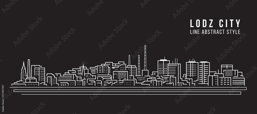 Fototapeta Cityscape Building Line art Vector Illustration design - Lodz city