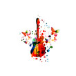 Colorful guitar with music notes isolated vector illustration design. Music background. Guitar poster with music notes, festival poster, live concert events, party flyer