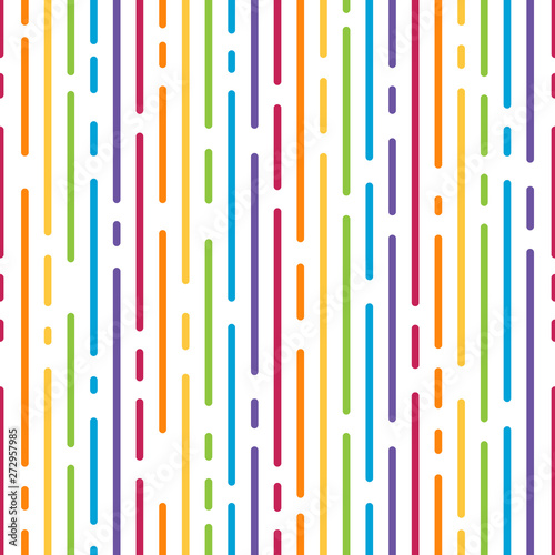 abstract colorful rainbow dash line vertical stripes pattern samless background Canvas Print