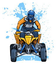 Vector Illustration Of A Man Riding All-terrain Vehicle. Beautiful Extreme Sport Poster. Summer Vacation Activity. ATV Motocross Competition Contestant