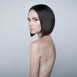 Leinwandbild Motiv Fashion beautiful brunette with short haircut.  studio portrait
