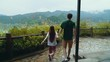 Young couple exploring the beautiful outdoors in mountain lake setting. millennial lovers on vacation