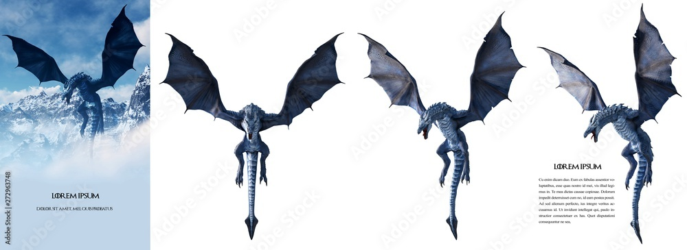 Fototapeta Ultra high-resolution (100 Mpx) Ice dragon 3D rendered. Change the background and make your own poster easily, like the left sample image. Just use the magic wand tool using 10 for the tolerance.