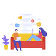 Flat vector illustration, web site development, coding, teamwork, website coding, SEO concept, search engine, design for mobile and web graphics. Man and woman sitting on couch with laptops.