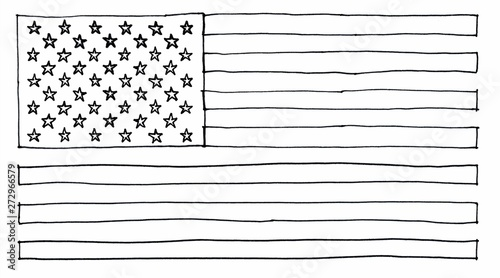 Canvastavla  hand drawn American Flag of United States of America