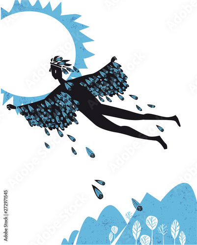 Canvastavla icarus flying in the sky, silhouette vector