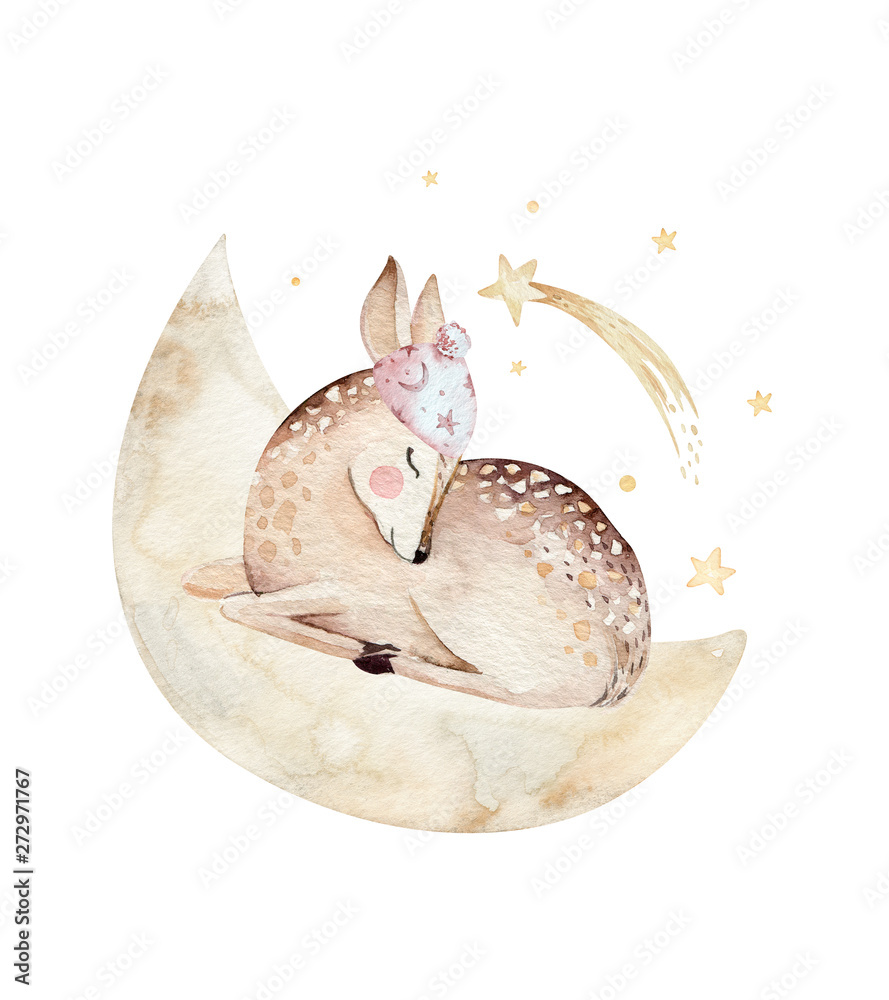 Cute dreaming kreskówka jelenia zwierząt ręcznie rysowane akwarela ilustracja. Sleeping charecher dzieci przedszkole nosić projektowanie mody, baby shower zaproszenia karty. <span>plik: #272971767 | autor: kris_art</span>