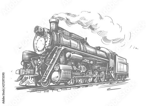 Steam locomotive transport. Hand drawn vector illustration Fototapeta