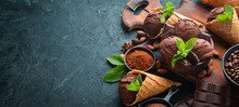 Chocolate Ice Cream With Chocolate. Top View. Free Space For Your Text.
