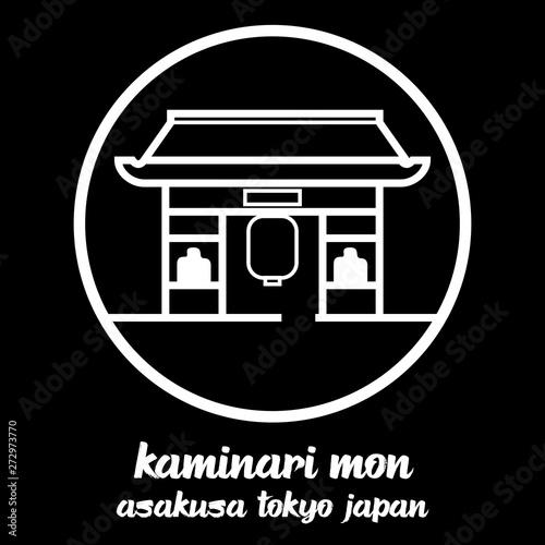 Photo Circle icon line Kaminari mon. vector illustration